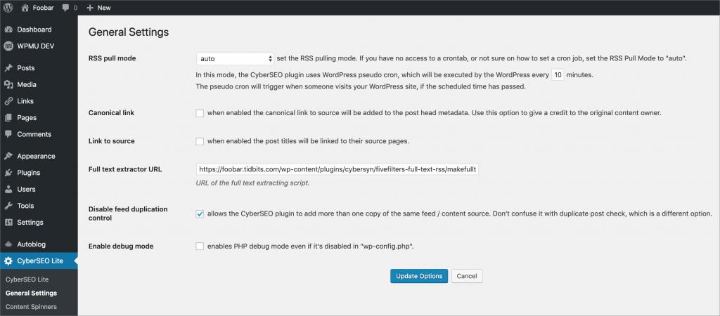 Configure the CyberSEO Lite (CyberSyn) Plug-in for WordPress