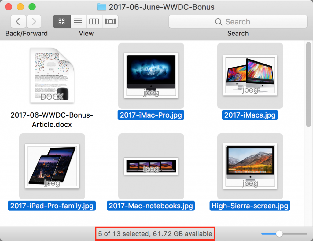 Count Selected Items in a Folder with the Finder's Status Bar