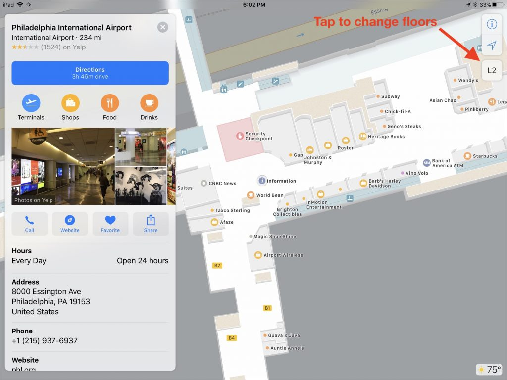 for malls maps lets you filter the view by store type or to show restroom locations notice the icon that lets you switch floors
