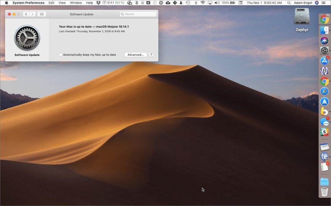 Software Update Pane macOS 10.14
